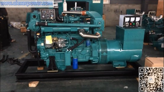 100kw Marine Diesel Generator Ricardo R6105AZLC Engine with sea heat exchanger and brushes alternator