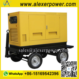 Silent Soundproof Diesel Generator with wheels trailer