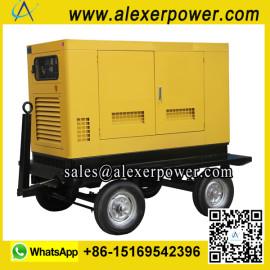 Silent Soundproof Diesel Generator with wheels trailer